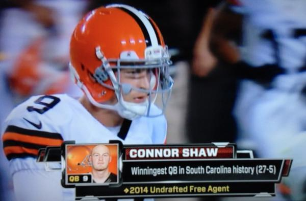 Connor Shaw, because he's the only QB who deserves it after completing 8-of-9 passes for 123 yards and a 45-yard Hail Mary touchdown